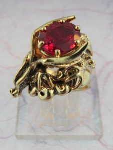 Cloud Dragon Ring with Ruby Red Gemstone