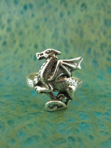 Sterling Silver Flat Dragon Ring
