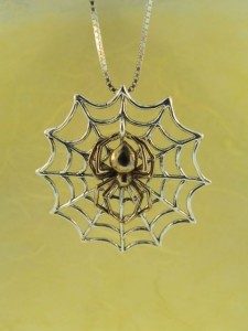 Silver Web and Bronze Spider Pendant