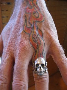 Skull Ring with Flame Tattoo