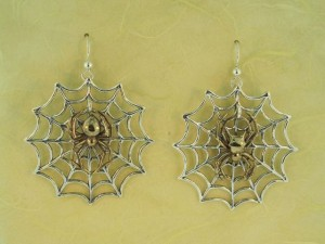 Large Web and Spider Earrings