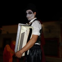 Accordian Musician Halloween Night