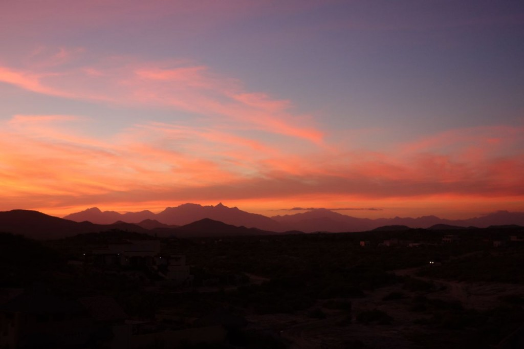Sunset over the East Cape Baja Mountain Range