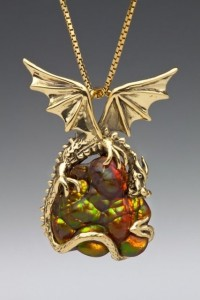 Surreal - Carved Arizona Fire Agate - 18K Gold Dragon