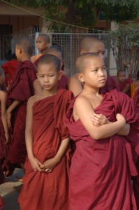 Novice Monks at the full Moon Celebration - Bagan Myanmar