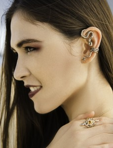 Python Ear Wrap and Alpha Omega Snake Ring
