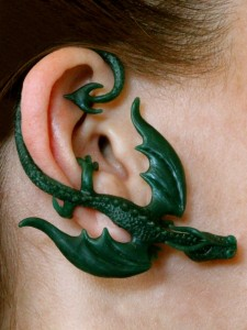 Balerion Dragon Ear Wrap - pictured on ear in wax