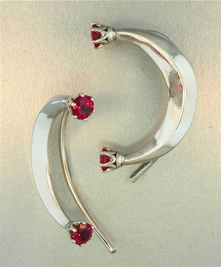 Pair of Celebrity Style Crescent Ear Wraps - Red CZ