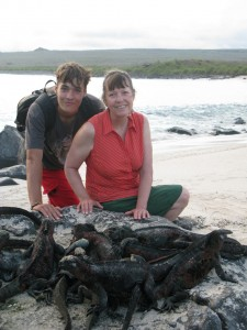 Marty and John with Marie Iguanas - Galapagos Islands