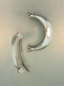 Pair of Celebrity Style Crescent Ear Wraps - Crystal CZ