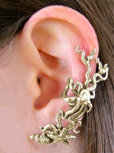 Poseidon's Gift - Octopus and Starfish Ear Cuff in Bronze