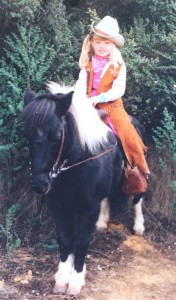 Alisha riding a Pony, Age 3