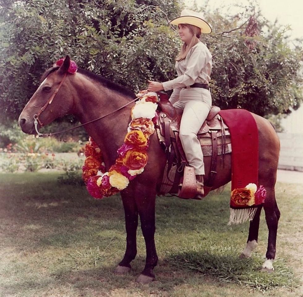 Marty riding Dusty, Santa Barbara Fiesta Parade, 1967
