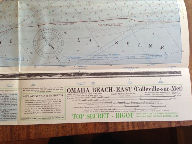 NOTE to COXSWAIN or NAVIGATOR - Building landmarks, especially near the beach, may be destroyed before any craft land. Terrain features, therefore, are much more reliable for visual navigation from panoramic shoreline sketch above. green solid and broken lines with letter at each end on chart above refer to Beach Gradients on reverse side of this sheet. Also on reverse side are Sunlight and Moonlight Table, data on Inshore currents and Tidal Stages