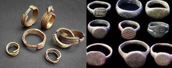 Assortment of ancient rings  - Egyptian (left) and Roman (right).