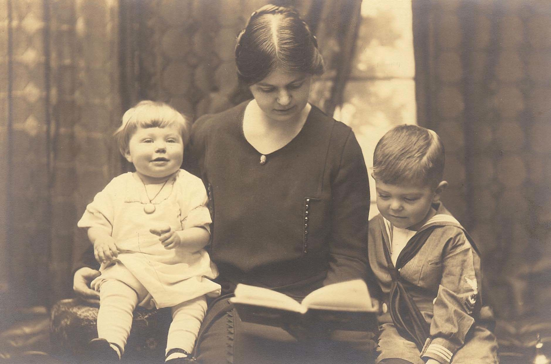 About 1921- John and sister Helen with their mother, Helen Hunt Crowell