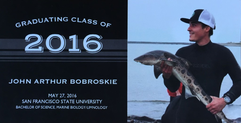 John with Shark Graduation Announcement