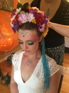 Finishing the Flower Head-dress