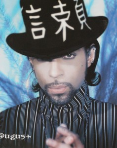 Prince wearing the Moon Ear Wrap, 2000 Calendar, photo by Steve Parke