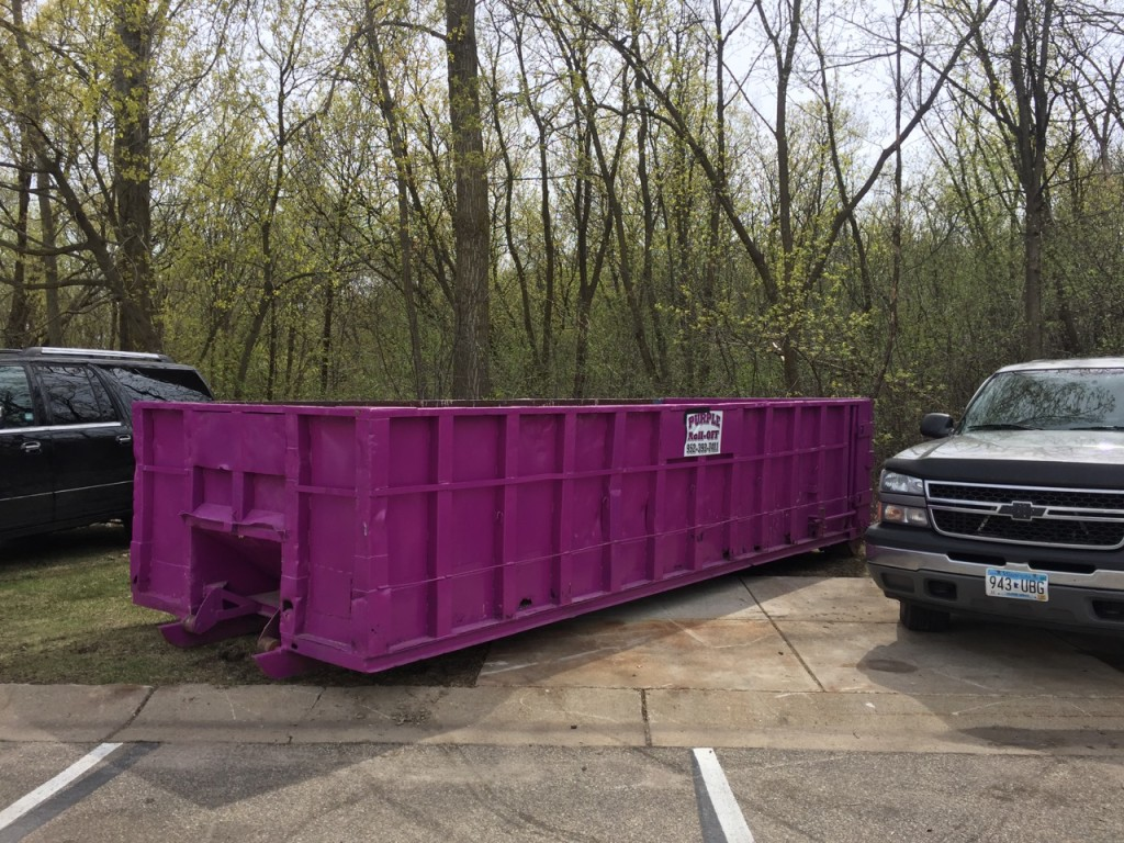 Even the Dumpster behind the dining tent is purple.