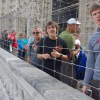 Caged visitors to the Notre Dame Tower