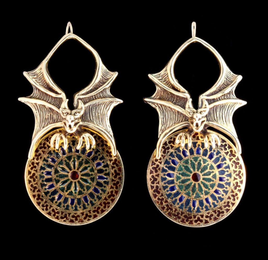 Plique-a-jour Gargoyle Earrings
