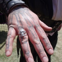 Tattooed Pirate wearing Skull Ring