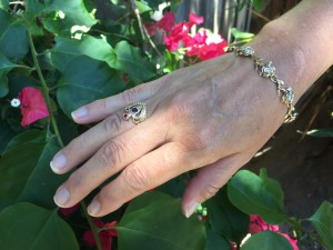Michiko wearing the Gold and Diamond Rose Bracelet and Jeweled Crown Ring