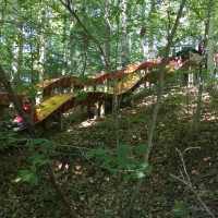Wooden slide in the forest